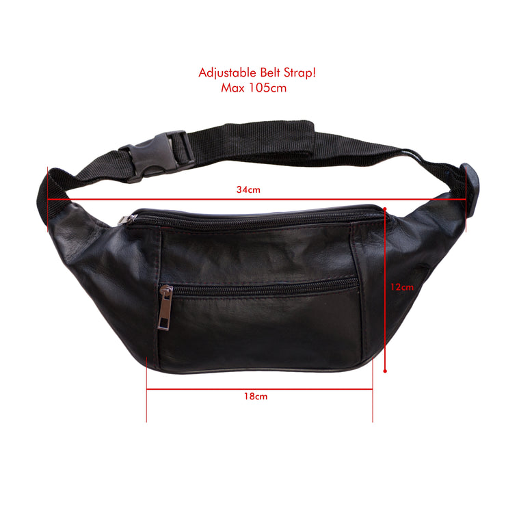 Dazoriginal Belt Bags Unisex Black Waist Bag Bum Fany Pack Hip Pouch 100 Leather - Dazoriginal