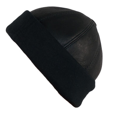 Dazoriginal Docker Cap Fisherman Ski Hat Winter Beanie Unisex Plain Black Leather Insulated Skully