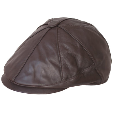 Dazoriginal Newsboy Cap Bakerboy Leather Hat 8 Panel Flat Cap Cabby Dai Cap Fixed Peak BLACK/BROWN