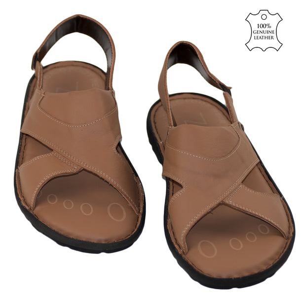 Men's Real Leather Flip Flop Summer Sandals Light Brown - Dazoriginal
