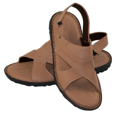 Men's Real Leather Sandals Flip Flop Summer Shoe Brown Color - Dazoriginal