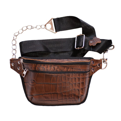 Dazoriginal Belt Bags Women Black Waist Bag Bum Fany Pack Hip Pouch 100% Leather - Dazoriginal