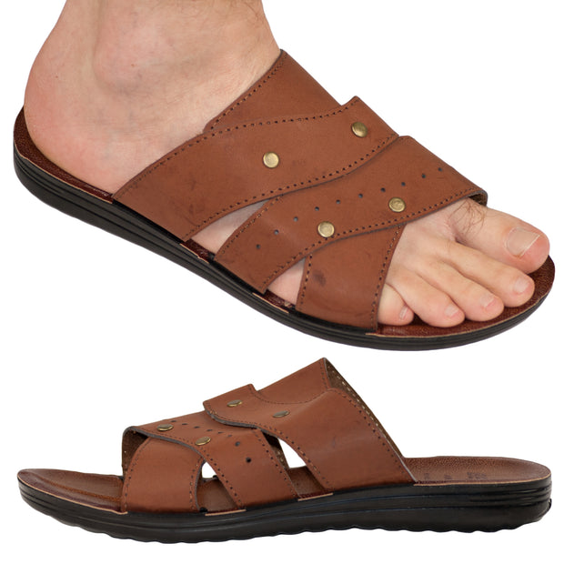 Men's Vegan Leather Flip Flop Sandals Shoe 40, 41, 42, 43, 44 Slippers Summer Thong UK 8 9 10 - Dazoriginal