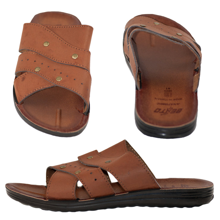 Men's Vegan Leather Flip Flop Sandals Brown - Dazoriginal