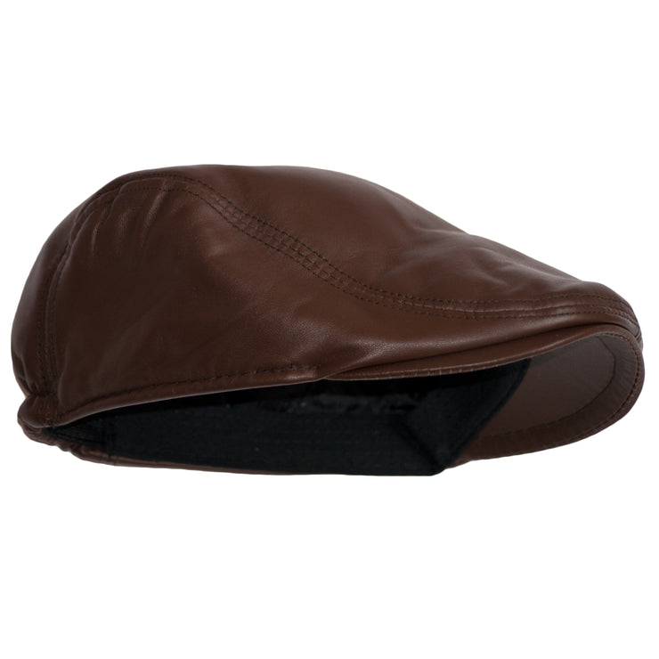 Flat Cap Leather Hat Cabbie Irish Golf Gatsby Ivy Dai Cap Duckbill Leather Black/Brown - Dazoriginal