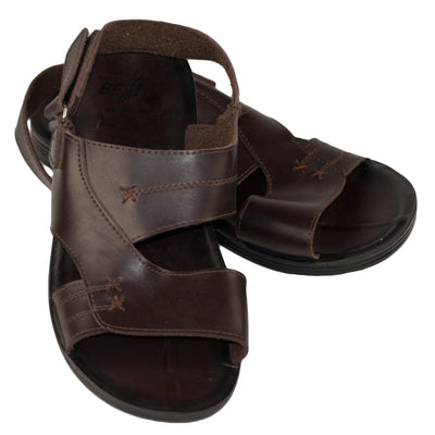 Men's Vegan Leather Flip Flop Sandals Dark Brown - Dazoriginal