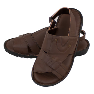 Men's Real Leather Sandals, Summer Sandals, Flip Flop Dark Brown Color - Dazoriginal