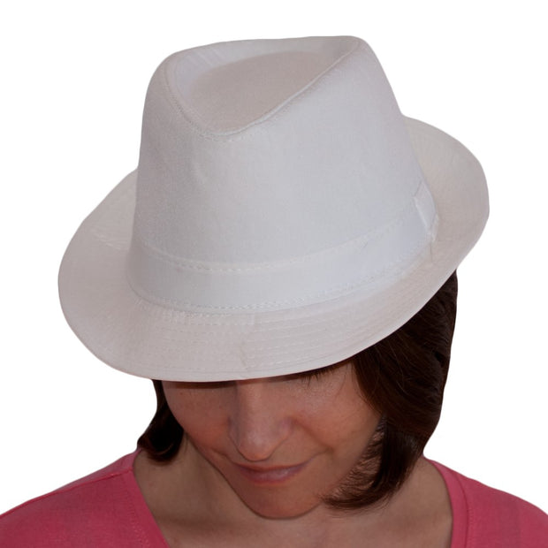 Dazoriginal White Fedora Cotton Hat Panama Beach Sun Hat Trilby Jazz Cap Packable - Dazoriginal