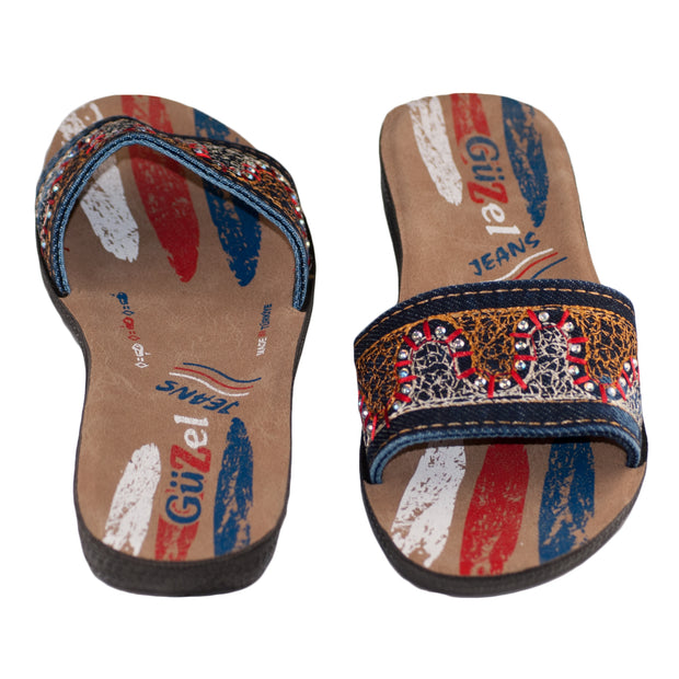 Red & Blue Ladies Vegan Leather Flip Flop Sandals Shoe 36, 37, 38, 39, 40 Slippers Summer Thongs - Dazoriginal