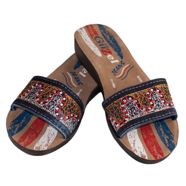 Red & Blue Ladies Vegan Leather Flip Flop Sandals - Dazoriginal