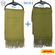 Pashmina Long Plain Scarves for Women Ladies Scarfs Wrap Shawl Stole - SET OF 2! - Dazoriginal