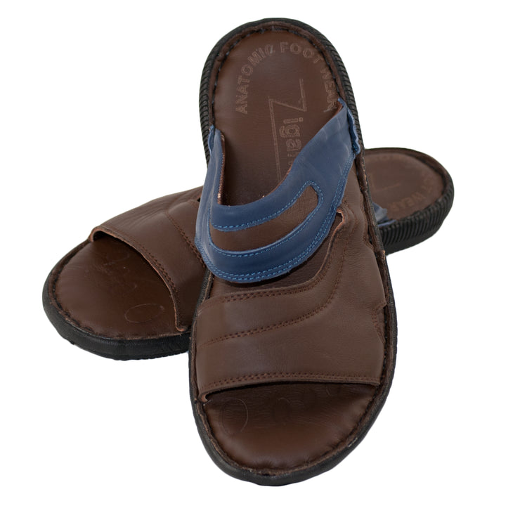 Men's Real Leather Flip Flop Summer Sandals Brown - Dazoriginal