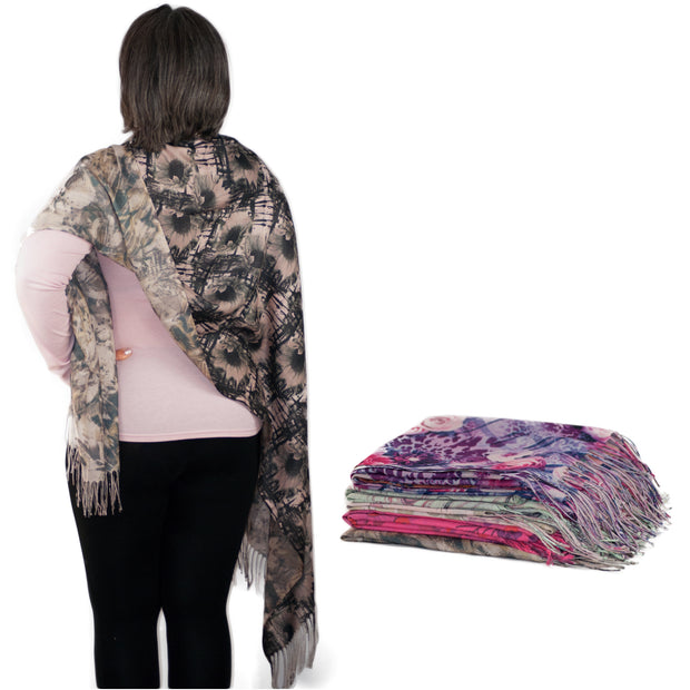 Two Sided Floral Print Pashmina Long Scarves for Women Ladies Scarfs Wrap Shawl Stole - Dazoriginal