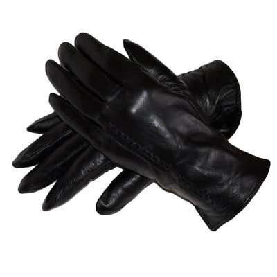 Black Leather Gloves Womens Winter Gloves Wool Soft Black Leather Gloves - Dazoriginal