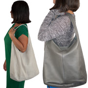 Whole Leather Hobo Bags Handbag Shoulder Bag Slouch Italian Leather Women GREY - Dazoriginal