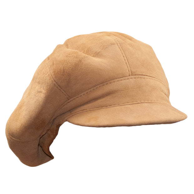 Suede Womens Big BakerBoy Cap Leather Hat Newsboy Vintage Slouchy Panel Caps Gatsby - Dazoriginal