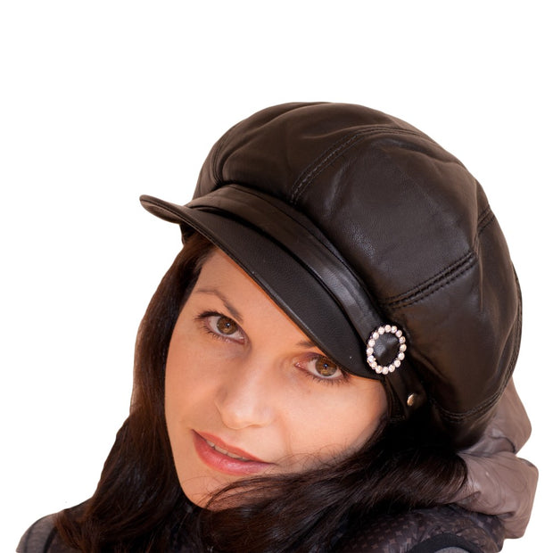 Womens Big BakerBoy Cap Leather Hat Newsboy Vintage Slouchy Panel Caps Gatsby 3 COLOURS - Dazoriginal