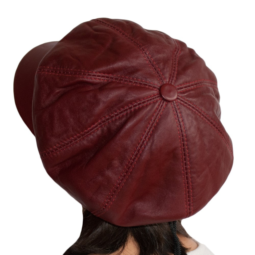 6f8139b0829c ... Load image into Gallery viewer, Womens Big BakerBoy Cap Leather Hat  Newsboy Vintage Slouchy Panel ...