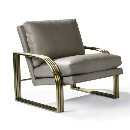 Thayer Coggin 1368-103-B Reynolds Lounge Chair with Brushed Bronze Frame