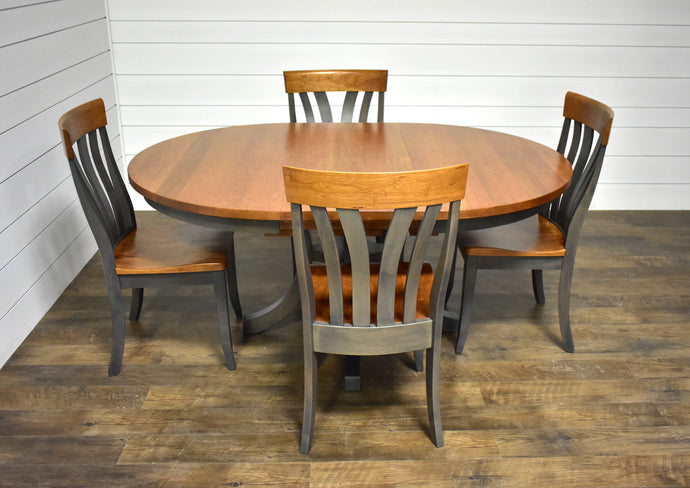 Carlisle Single Pedestal Table with Butterfly Leaf and (4) Lennox Chairs