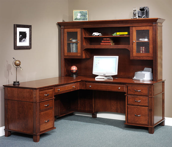 Arlington L-Desk with Small Hutch