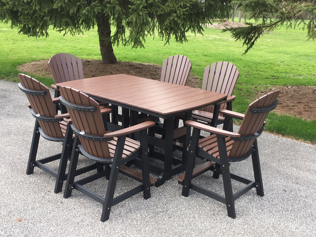 "Set of (6) Berlin Gardens Comfo-Back Counter Chairs and (1) Poly 44 x 72"" Garden Classic Rectangular Counter Table- showroom inventory"