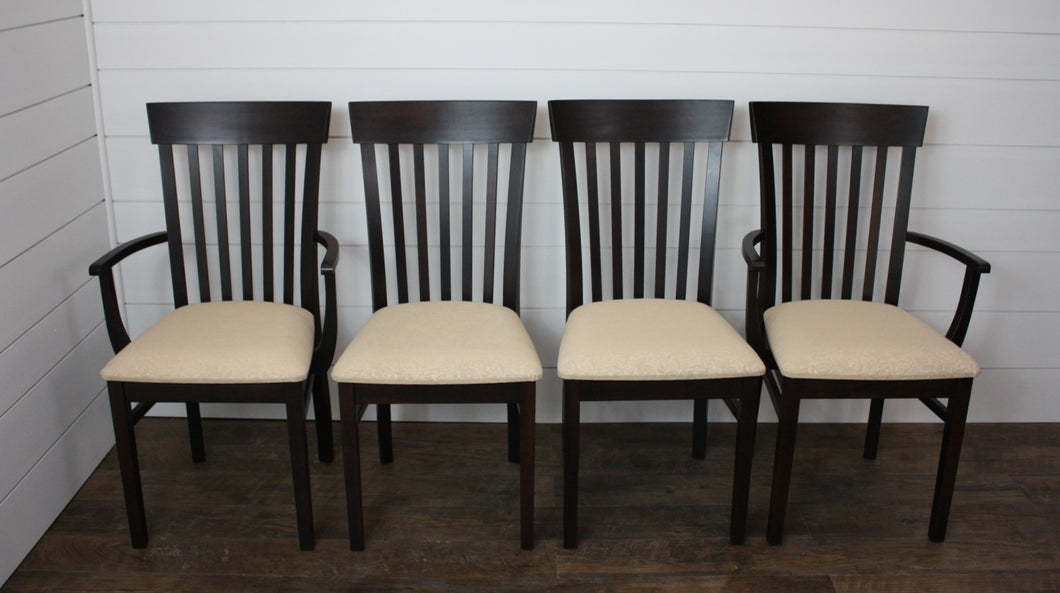 Set of Four Venice Dining Chairs - (2) Arms, (2) Sides with Fabric Seats