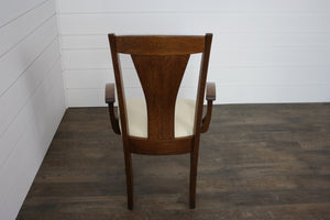 Pair of Woodville Dining Chairs - (2) Arms with Leather Seats