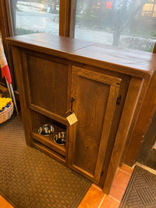 Rustic Pet Armoire with Feeder- Showroom Inventory
