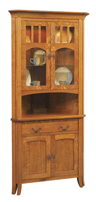 Old World #29 Corner Hutch with Drawer and standard doors