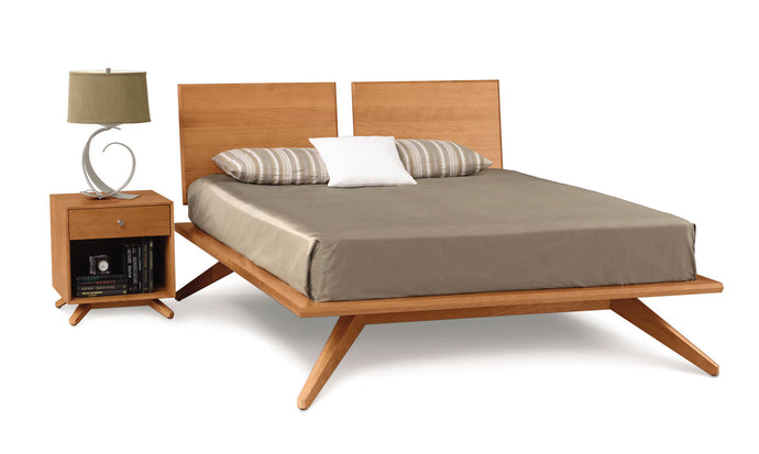 Copeland Astrid Bed with 2 Headboard Panels in Cherry