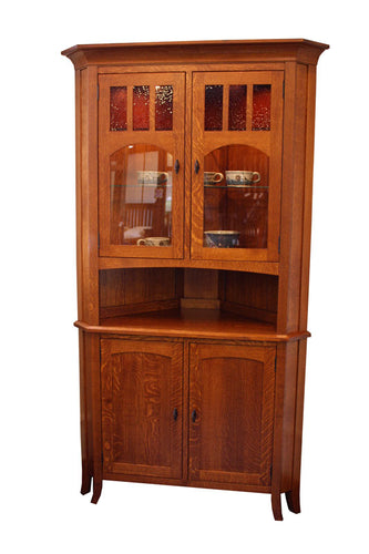 Old World #34 Corner Hutch with Standard Doors