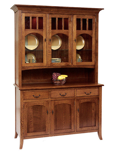 Old World Three Door China Hutch