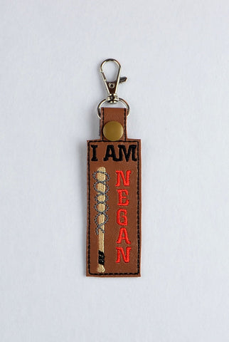 I am Negan snap tab key fob ITH 4x4 machine embroidery design