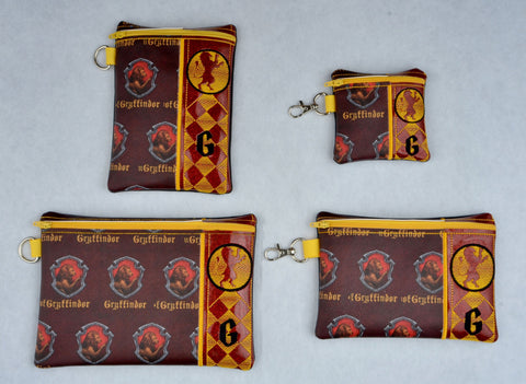 Gryffindor House Crest zip bag set FOUR sizes ITH machine embroidery design