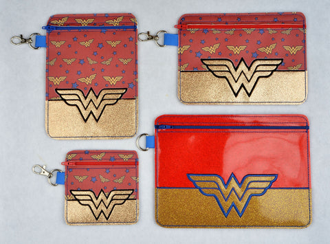 Wonder Woman partially lined ITH zipper bags FOUR SIZES machine embroidery design