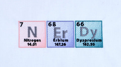 "Periodic Table ""Nerdy"" machine embroidery design 5x7"