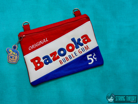 Bazooka Joe Zip Bag Fully Lined 6x10 with dangle ITH MACHINE EMBROIDERY DESIGN