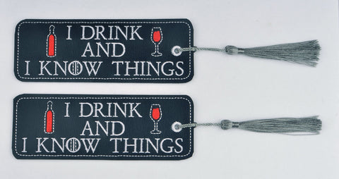 I drink and I know things traditional book mark 2ITH 5x7 machine embroidery design