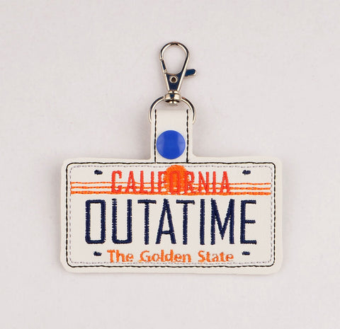 Back to the Future OUTATIME plate snap tab key fob ITH 4x4 machine embroidery design