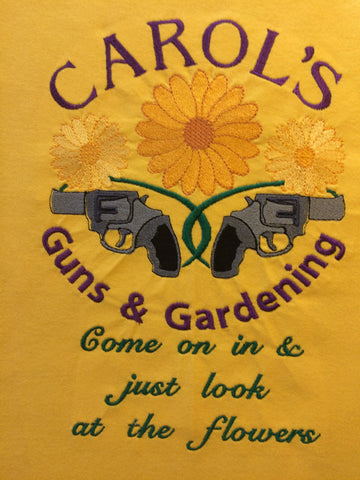 Carol's Guns & Gardening 6x10 Machine Embroidery Design