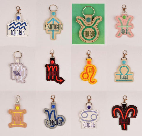 Zodiac symbols PACK snap tab key fob ITH TWLEVE 4x4 machine embroidery designs