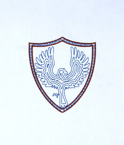 Spell Academy Crow Coat of Arms minimalist no banner machine embroidery design 4x4