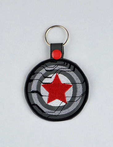 Winter Soldier snap tab key fob ITH 4x4 machine embroidery design