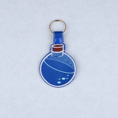 Health Mana Potion Poison bottle snap tab key fob ITH machine embroidery design