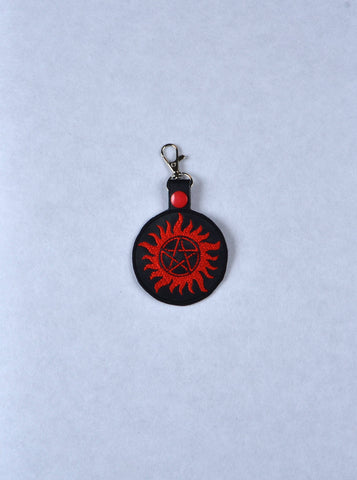 Paranormal Anti-demon key fob snap tab machine embroidery ITH 4x4