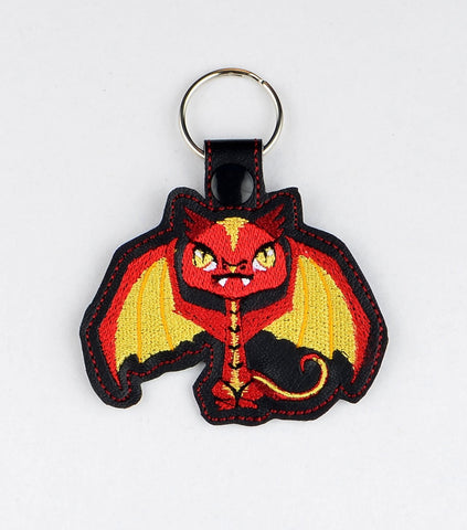 Tiny Smaug dragon snap tab key fob ITH 4x4 machine embroidery design