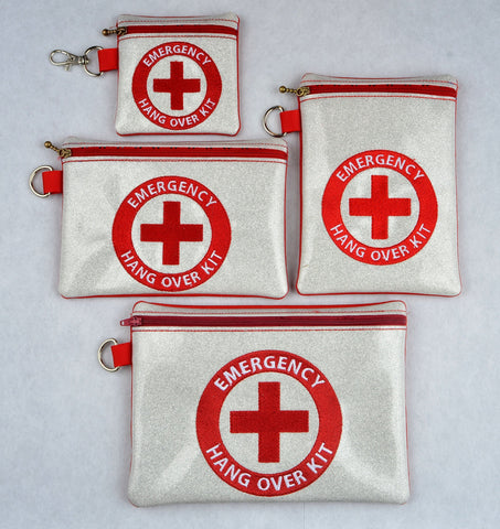 Emergency Hang Over Kit zip bag set 4 SIZES ITH machine embroidery design