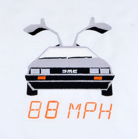 Time Rewind 88 MPH DeLorean 5x7 machine embroidery design
