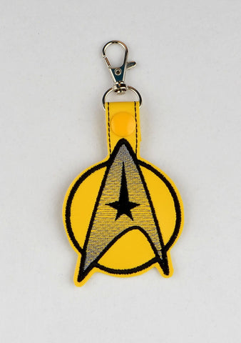 Star Trek command logo snap tab key fob ITH 4x4 machine embroidery design